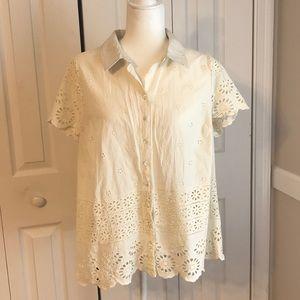 100% cotton eyelet button up blouse